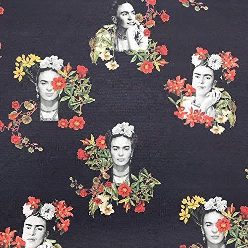 Kt KILOtela Tela de loneta Estampada Digital - Half Panamá 100% algodón - Retal de 100 cm Largo x 140 cm Ancho | Frida Kahlo - Viva la Vida - Negro ─ 1 Metro