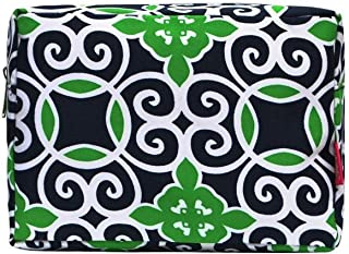 N. Gil Large Travel Cosmetic Pouch Bag (Geo Green Navy Blue)