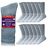 Diamond Star 6 Pairs Men's Diabetic Socks Unisex Cotton Physician Approved Cushion Diabetic Crew Socks For Mens Womens (Grey, Men's 10-13/ Fits Men's Shoe Size 7-12)