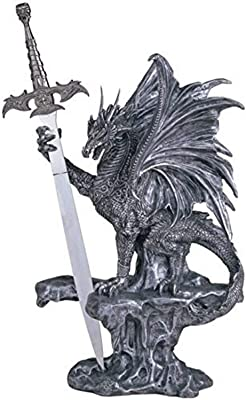 StealStreet SS-G-71340 Dragon Collection with Sword Collectible Fantasy Decoration Figurine