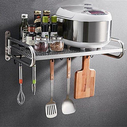 Shelf LYG Küchenregal, Praktische Wandmontierte Mikrowelle Rack Gewürzkocher Regal Multifunktions Edelstahl Küche Kommoden Sideboards (Size : 581mm)