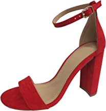 Cambridge Select Women's Single Band Buckled Open Toe Ankle Strappy Chunky Block Heel Sandal