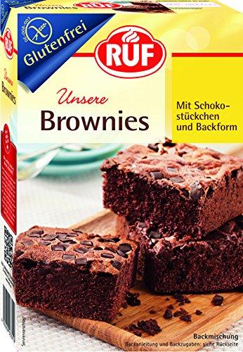 RUF Brownies glutenfrei, Back-Mischung, American Chocolate Brownies, saftig mit Schoko-Stückchen, ohne Gluten bei Zöliakie, inkl. Backform, 8er Pack (8 x 420 g)