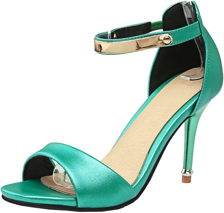 AmoonyFashion Women's Open-Toe High-Heels Pu Solid Zipper Sandals