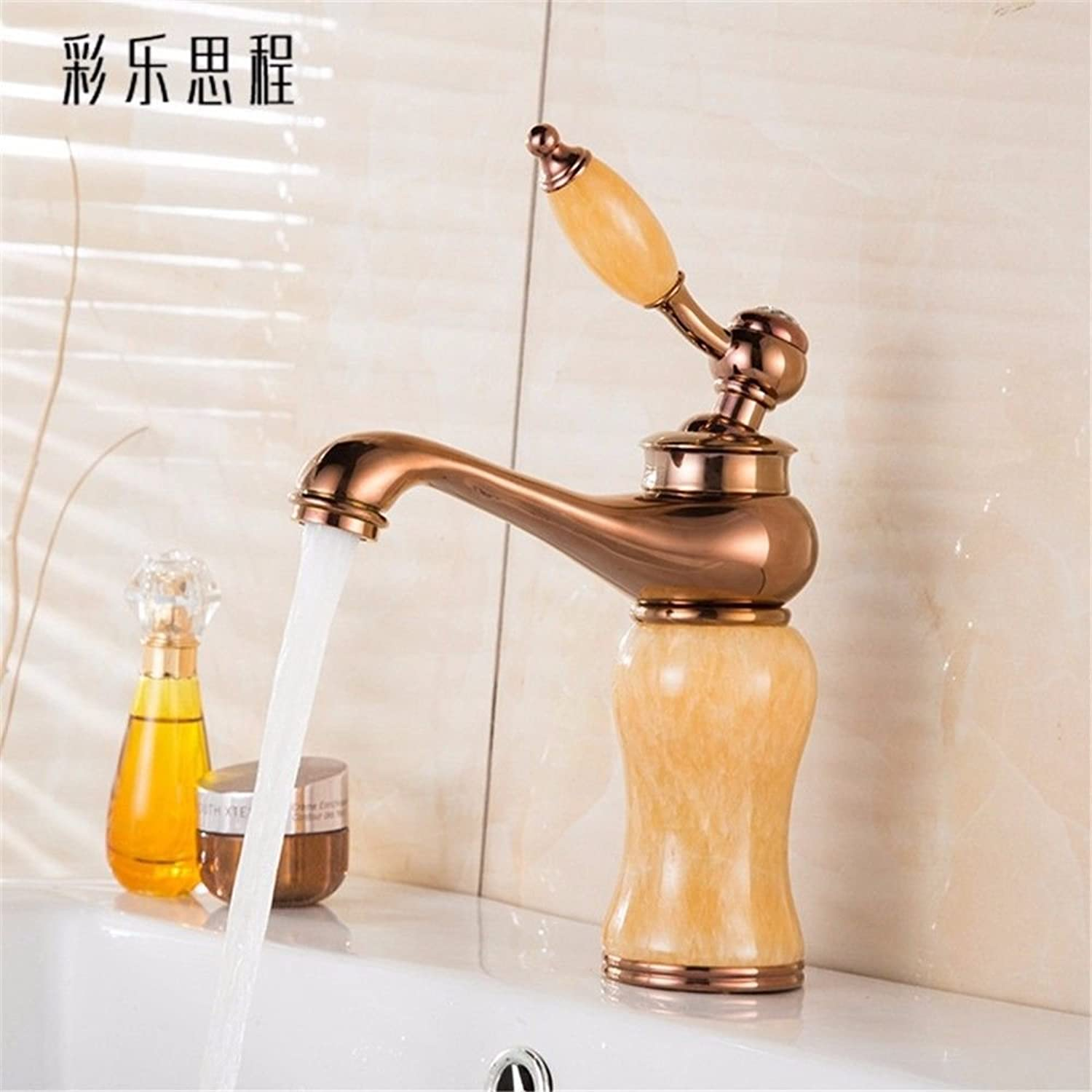 Commercial Single Lever Pull Down Kitchen Sink Faucet Brass Full Copper Marble Antique European Old Bathroom Hot and Cold Faucet Bathroom Single Hole Above Counter Basin Kitchen Bathroom Vanity