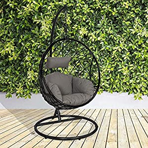 GardenCo Milan Hanging Egg Chair with Stand Black