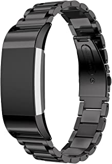 Maxjoy Compatible with Fitbit Charge 2 Bands, Charge2 Metal Replacement Strap Stainless Steel Bracelet Band Small Large Wristband Compatible with Fitbit Charge 2 HR Tracker (Rose Gold, Black, Silver)