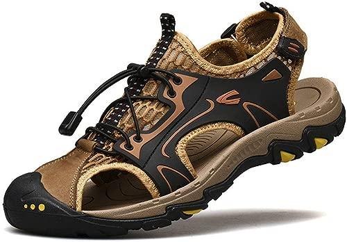 Leder Herren Outdoor Casual Sports Sandalen Closed Toe Sommer Strand Schuhe Tragen rutschfeste Bergsteigen Sandalen Outdoor