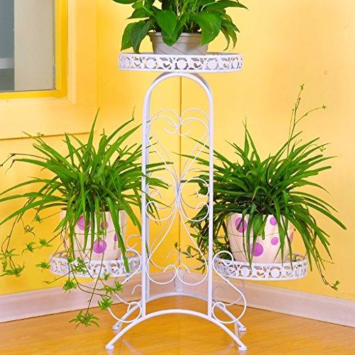 Rack de fleurs en fer/Balcon Salle de séjour intérieure et extérieure Pot de pot de fleurs Ensemble de fleurs classiques pour plancher (66 * 74cm) (Couleur : Blanc)
