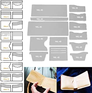 SMTHOME 13X Clear Acrylic Wallet Pattern Stencil Template Drawings Set Leather Hand Craft DIY Tool