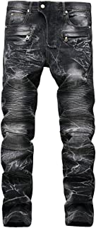 KUYIGO Men's Slim Straight fit Biker Jeans with Zipper Deco
