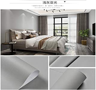 Color liso, papel pintado autoadhesivo, grueso, impermeable, autoadhesivo, papel pintado, dormitorio, sala, vinilos decorativos, gruesos, a prueba de agua, precio de 1 m - mate gris claro 0.6m * 1m