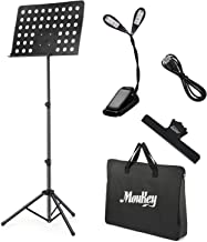 Moukey Sheet Music Stand MMS-2 Portable Travel Metal Adjustable Folding Music Stand With Stand Light Carrying Bag Black