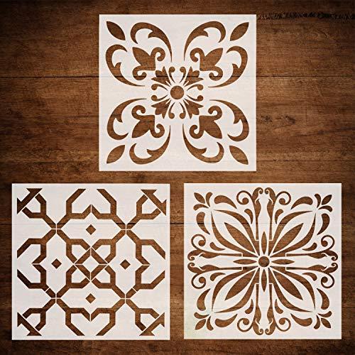 CODOHI 3 Packs Wandfliesen Schablonen (30x30cm) Laser geschnittene wiederverwendbare Schablonen für Bodenmöbel Gemälde DIY Art Home Decor-marokkanischen Mustern