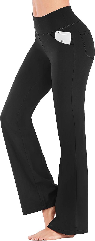 IUGA Bootcut Yoga Pants with Pockets for Women High Waist Workout Bootleg Pants Tummy Control, 4 Pockets Work Pants for Women
