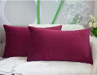وسادة مقعد ان هاوس قطعتان قطيفة مستطيلة الشكل بابعاد 30×50 سم - لون النبيذ الاحمر