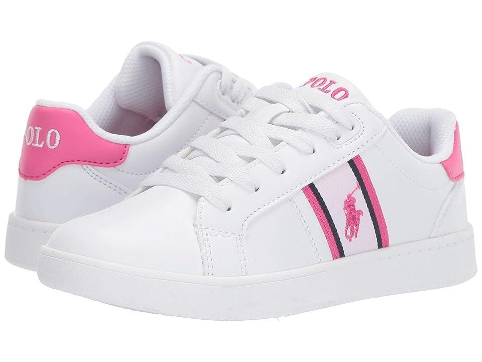 Polo Ralph Lauren Kids Quigley (Little Kid) (White Smooth/White/Baja Pink/Baja Pink Pony) Girl