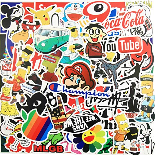 100pcs Fashion Brand Stickers, Cool Skateboard Stickers, Water Bottle Stickers Vinyl Waterproof Stickers Laptop Stickers for Teens Luggage Car Bike Bicycle(Not for Kids)
