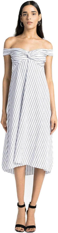 A.L.C. Arsenio Off The Shoulder Striped Poplin Midi Dress