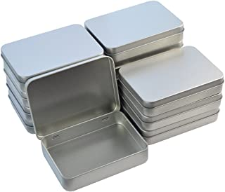 Wobe 12pcs Metal Rectangular Empty Hinged Tins Box Containers 4.5x3.3x0.9 in Mini Portable Box Small Storage Kit Home Orga...
