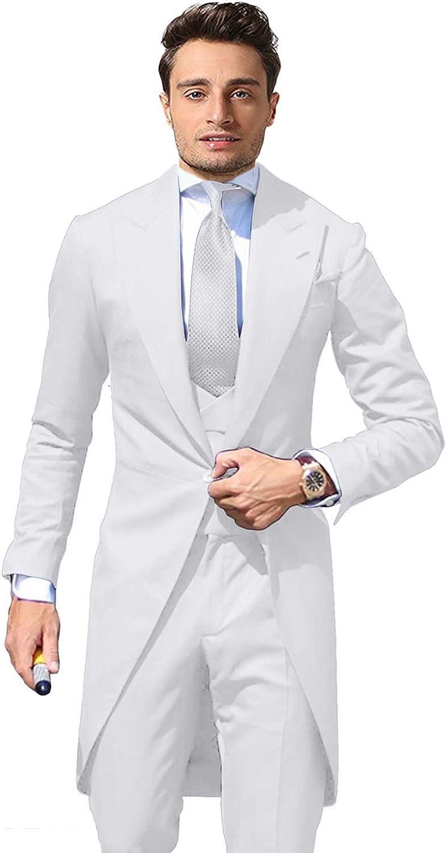 Wemaliyzd Men's 3 Pieces Wedding Tuxedo Jacket 6 Buttons Vest Separate Pants