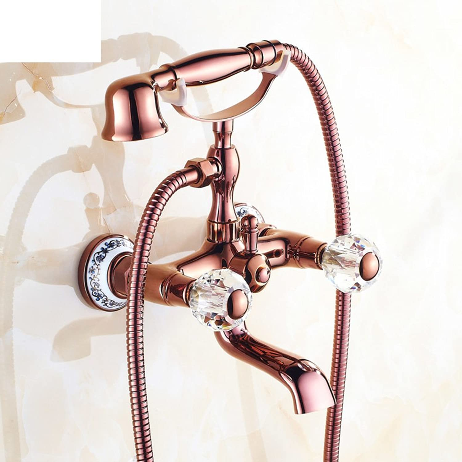 Copper Antique Bathtub Faucet European-Style Shower Kit Simple Shower Set Bathroom-J
