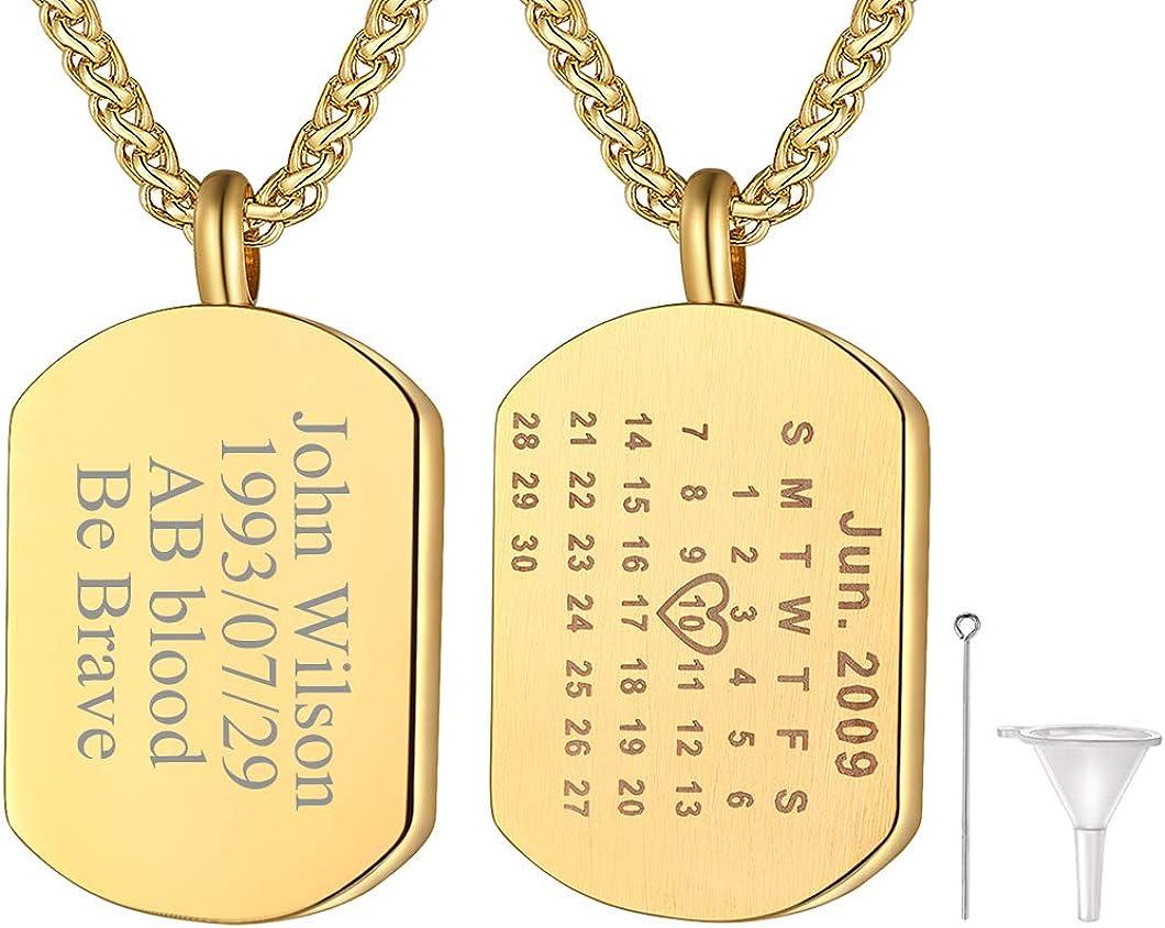Richsteel Collar con Placa de Identidad Personalizada, Collar Militar Dog Tag para Hombres Mujeres, Acero/Dorado/Negro, Caja de Regalo y Grabado Gratis