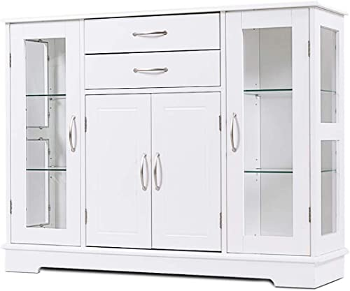 lowest Giantex Sideboard Buffet Server Storage Cabinet high quality W/ 2 Drawers, 3 Cabinets online sale and Glass Doors for Kitchen Dining Room Furniture Cupboard Console Table (White) online sale