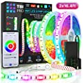 Upgraded 2019 LED Strip Lights Kit 32.8ft w/Extra Adhesive 3M Tape - 300 LEDs SMD 5050 RGB Light, 44 Key Remote Controller, Flexible Changing Multi-Color Lighting Strips for TV, Room