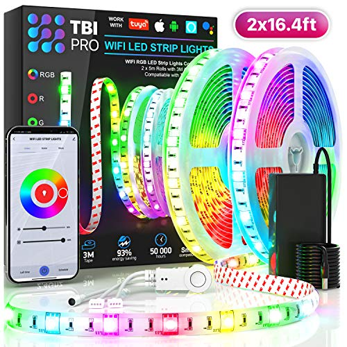 TBI Pro LED Strip Lights 32.8ft - Indoor Outdoor RGB Led Strip Lights with Waterproof Color Changing Super-Bright 5050 LED - Flexible Led Rope Lights for Bedroom Kitchen Living Room Home Decoration