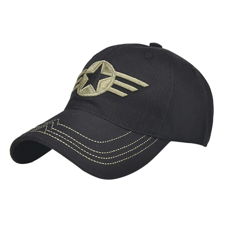 批評おお金ゴムRacazing Cap ミリタリーキャップ 野球帽 迷彩 夏 登山 通気性のある メッシュ 帽子 ベルクロ 可調整可能 スターバッジ 刺繍 棒球帽 UV 帽子 軽量 屋外 Unisex Hat (黒)