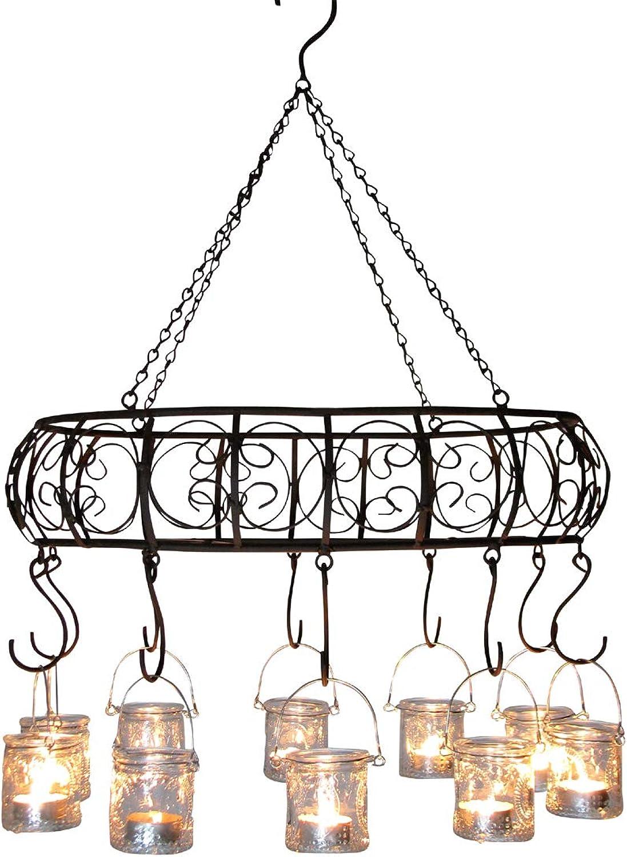 Grünrieb MB homefashion Windlichter, Gartenlaterne, Kerzenhalter, Hngekranz, Hngeleuchter, Kerzenleuchter, Metall braun mit Rost-Patina, oval 49 x 35 cm, mit Ablagegitter & mit 10 Teelichtern
