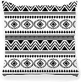 BONRI Housse de Coussin décoratif carré 18 x 18 Noir Motif Africain Abstrait Traditionnel dessiné à la Main Mode Textile imprimé américain andalou Arabe décor à la Maison taie d'oreiller à glissière