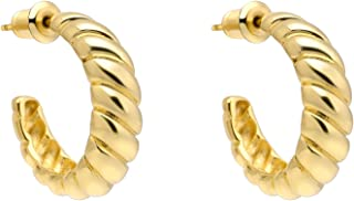 Sponsored Ad - Wowshow Chunky Open Hoops 14K Gold Plated Hoop Earrings Croissant Hoop Earrings Twisted Round Earrings for ...