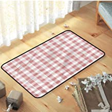 Sofa mat, for Dining Room Home Bedroom Decoration Rug Catches Dirt Dust Snow & Mud, Checkered Countryside Picnic - W15 x L23