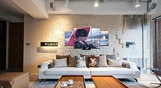 LVQIANHOME Decoración De Pared Arte De La Pared Cartel Pintura Sala De Estar Modular Lienzo Decorativo Impreso 5Panel Wlop Ghost Blade Anime Snow Girl-Size3-Enmarcado