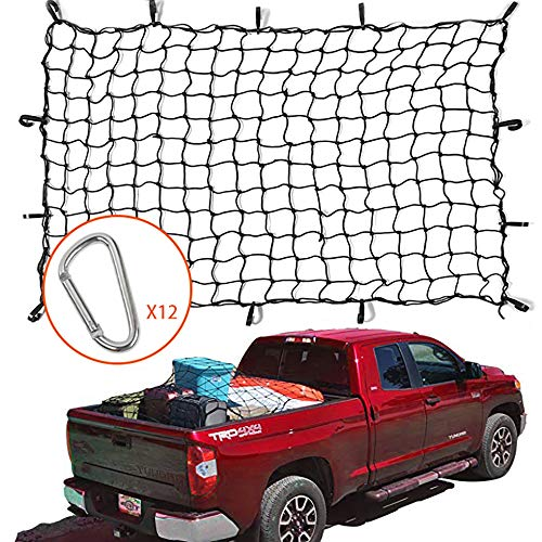 Voodonala 4'x6' Bungee Cargo Net Stretches to 8'x12' for Rooftop Cargo Rack for Pickup Truck, Trailer, Boat, RV Ford Chevrolet Dodge GMC Nissan Toyota Honda Jeep