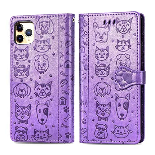 Wallet Case with Card Holder Compatible with iPhone 11 Case,Premium PU Leather Kickstand Card Slots,Double Magnetic Clasp and Durable Shockproof Cover,Purple