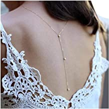 LittleB Back Necklace Backdrop Pearls Body Chain for women. (Silver)