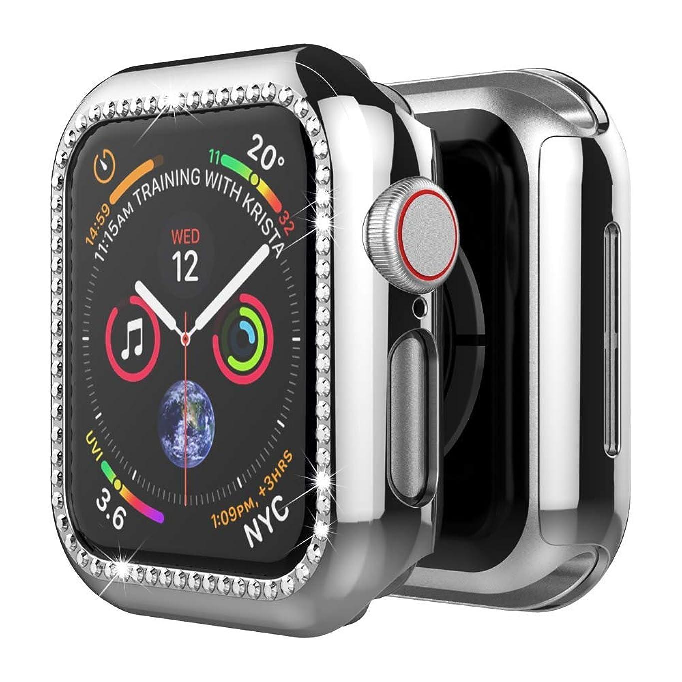 釈義長椅子ポインタApple Watch 1/2/3/4 専用ケース アップルウォッチ4 カバー ラインストーン付け 擦り傷防止 PC材料 軽量 防衝撃 アップルウォッチ 全面保護ケース(Apple Watch 1/2/3 38mm|シルバー)