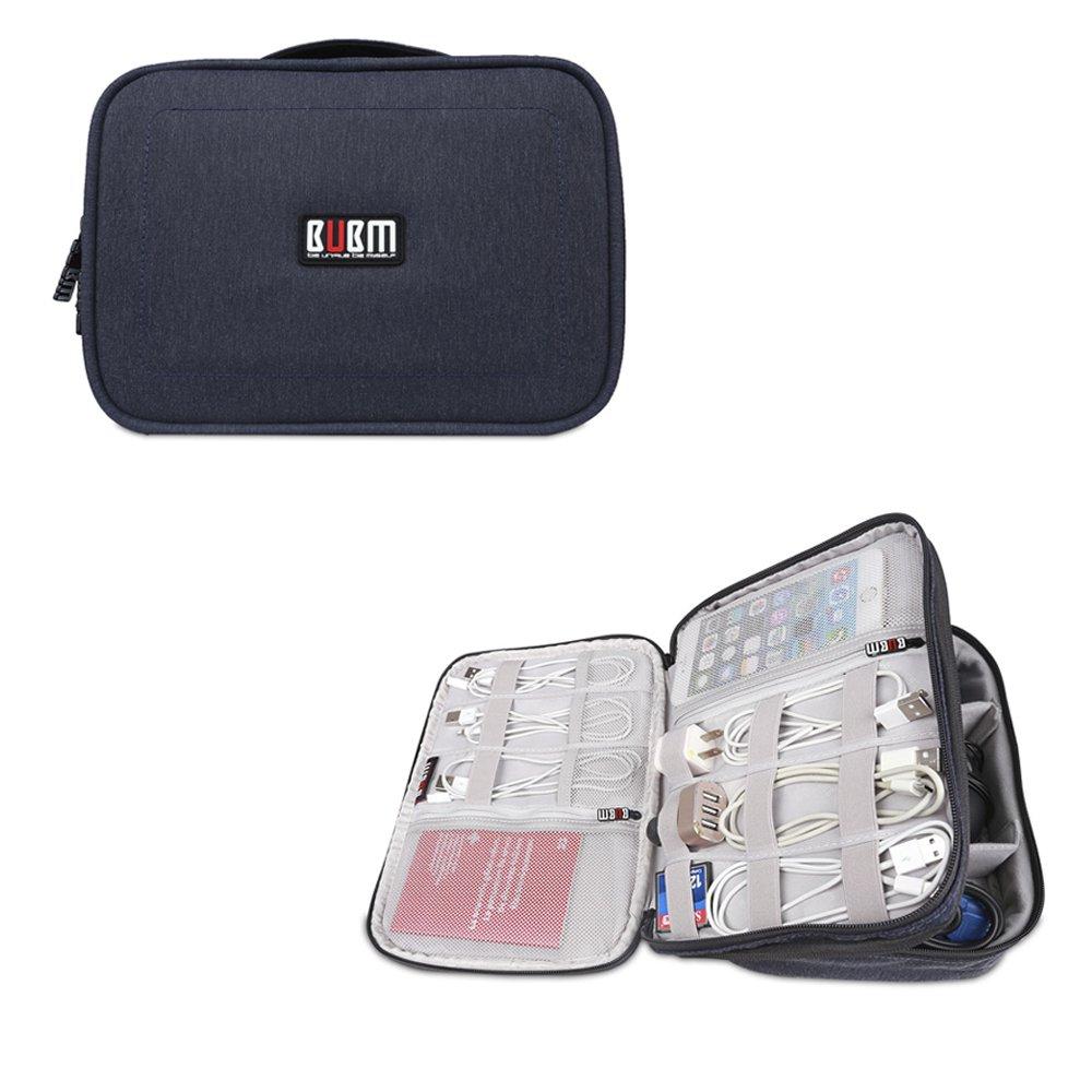 BUBMは美しいDPSパワーパックデジタルアクセサリー仕上げバッグ収納袋ウォッシュバッグ化粧品バッグiPad収納(ミディアム27.5 * 21 * 8CM、ブルー)