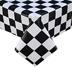 PVC Plastic Oilcloth Tablecloth Vinyl Peva Wipeable Spillproof Waterproof Tablecloths for Picnic Banquet Coffee Table Square Checkered White and Black Small 4 ft 54x54 Inch