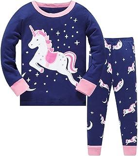 LitBud Navidad Pijamas de Las niñas pequeñas 100% algodón Jirafa Ropa de Dormir Pijama de Manga Larga pjs Conjunto para ni...