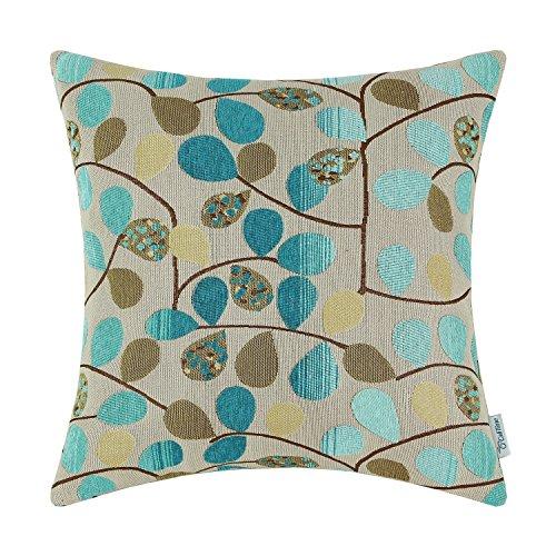 CaliTime Kissenbezug Dekokissen Fall Shell für Couch Sofa Dekoration Luxus Chenille Nette Blätter Beide Seiten 40 cm x 40 cm Ecru Teal