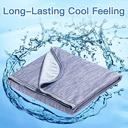 Marchpower Cool Throw Blanket, Newest Cool-to-Touch Technology, Breathable Cool Blanket for Night Sweats, Lightweight Summer Throw Blanket for Kids Couch Sofa, Q-MAX0.4, (Blue, Small, 67 x 51 inches)