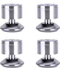 Set of 4 circular Stainless steel table legs Furniture Sofa Chair Ottoman Cabinet Legs With protect Pad (Height 6cm)