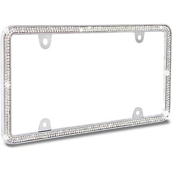 Black-Black Frame Premium Sparking Rhinestone Metal License Plate Frame+4 Matching Screw Cap+4 Screws JR2 3 Row 710