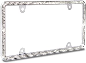 JR2 Shining Double Row Crystal Metal License Plate Frame+Free Screw Caps (Neon)