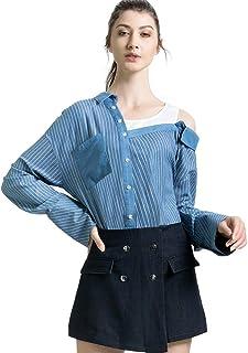 LAIZI المرأة عارضة كبيرة الحجم الكتف الباردة 2 في 1 زر أسفل القمصان طويلة الأكمام فضفاضة منقوشة بلوزة بلايز