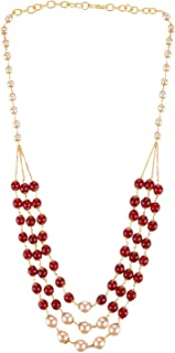 Indian Multi Layered Red Faux Ruby Pearl Beads Wedding Bridal Necklace Earrings Jewelry Set
